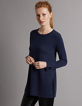Pure Cashmere Crew Neck Tunic Jumper