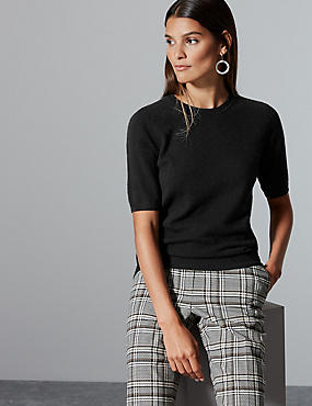 Pure Cashmere Round Neck Jumper , BLACK, catlanding