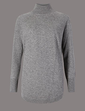 Pure Cashmere Curved Hem Funnel Neck Jumper, MID GREY, catlanding