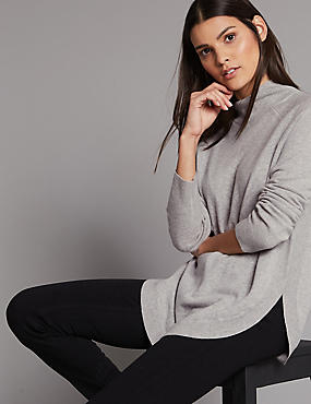 Pure Cashmere Curved Hem Funnel Neck Jumper, SILVER GREY, catlanding