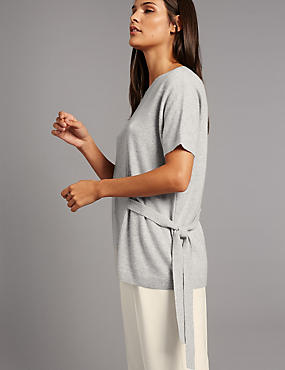 Pure Cashmere Side Tie Short Sleeve Jumper