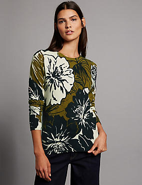Pure Cashmere Ribbed Floral Print Jumper