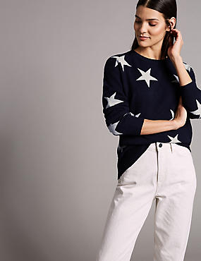Pure Cashmere Oversized Star Jumper, NAVY MIX, catlanding