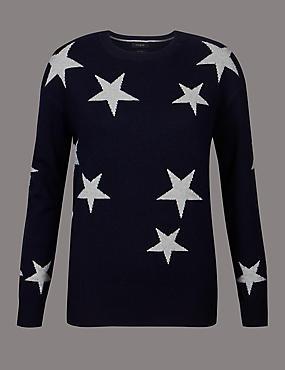 Pure Cashmere Oversized Star Jumper, NAVY MIX, catlanding