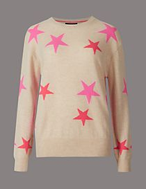 Pure Cashmere Star Print Round Neck Jumper