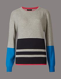 Pure Cashmere Colour Block Striped Jumper