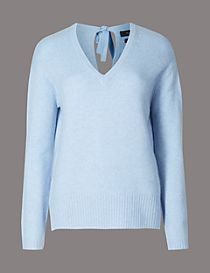Pure Cashmere Bow Back V-Neck Jumper