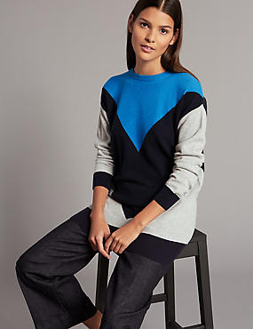 Pure Cashmere Colour Block Round Neck Jumper