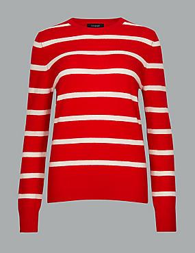 Pure Cashmere Striped Round Neck Jumper , RED MIX, catlanding