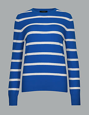 Pure Cashmere Striped Round Neck Jumper , BLUE MIX, catlanding