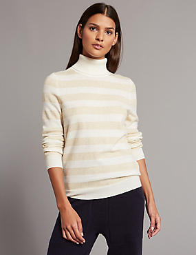 Cashmere Rich Striped Roll Neck Jumper