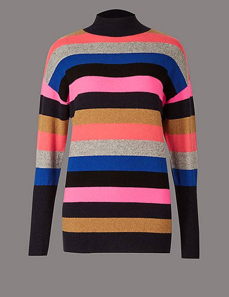 Cashmere Rich Colour Block Turtle Neck Jumper