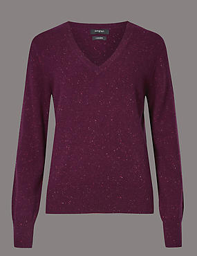 Pure Cashmere V-Neck Nep Jumper, PLUM MIX, catlanding