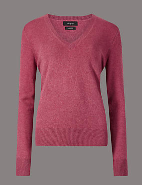 Pure Cashmere Ribbed Hem V-Neck Jumper, RASPBERRY, catlanding