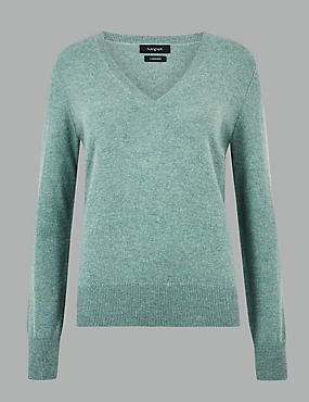 Pure Cashmere V-Neck Jumper, BLUE/GREEN, catlanding