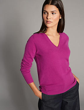 Pure Cashmere Ribbed Hem V-Neck Jumper