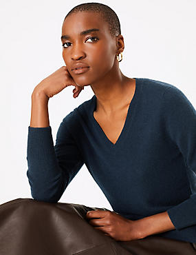 Pure Cashmere Ribbed Hem V-Neck Jumper, MEDIUM NAVY, catlanding