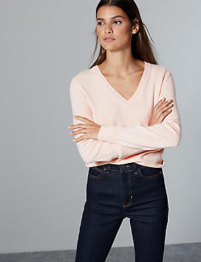 Pure Cashmere Ribbed Hem V-Neck Jumper, BLUSH PINK, catlanding