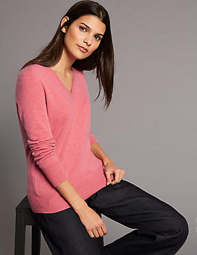 Pure Cashmere Ribbed Hem V-Neck Jumper, LIGHT RASPBERRY, catlanding
