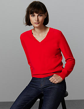 Pure Cashmere V-Neck Jumper, CHILLI, catlanding