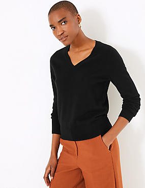 Pure Cashmere Ribbed Hem V-Neck Jumper, BLACK, catlanding
