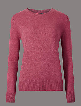Pure Cashmere Ribbed Round Neck Jumper, RASPBERRY, catlanding
