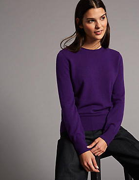 Pure Cashmere Ribbed Round Neck Jumper, PURPLE, catlanding