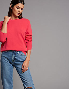 Pure Cashmere Ribbed Round Neck Jumper, CRIMSON, catlanding