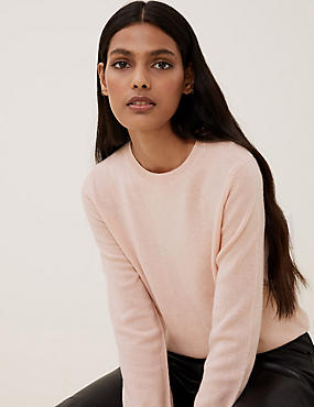 Pure Cashmere Ribbed Round Neck Jumper, BLUSH PINK, catlanding