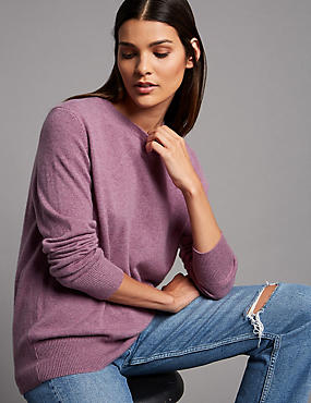 Pure Cashmere Round Neck Jumper, LILAC, catlanding