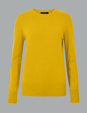 Pure Cashmere Round Neck Jumper, HONEY, catlanding