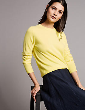 Pure Cashmere Ribbed Round Neck Jumper, MIMOSA, catlanding