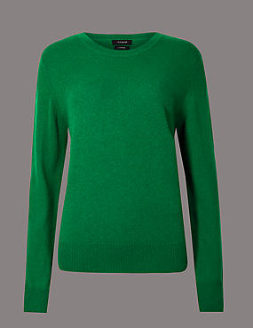 Pure Cashmere Ribbed Round Neck Jumper, EMERALD, catlanding