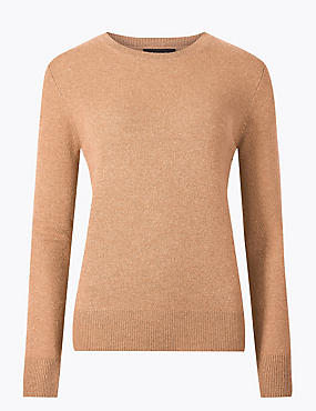 Pure Cashmere Ribbed Round Neck Jumper, CAMEL, catlanding