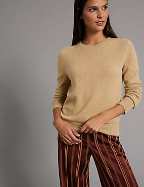 Pure Cashmere Ribbed Round Neck Jumper