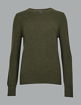 Pure Cashmere Round Neck Jumper, HUNTER GREEN, catlanding