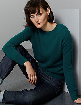 Pure Cashmere Round Neck Jumper, DARK EVERGREEN, catlanding