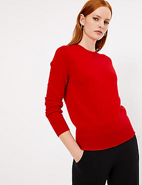 Pure Cashmere Ribbed Round Neck Jumper, CHILLI, catlanding