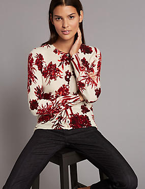 Pure Cashmere Floral Print Cardigan