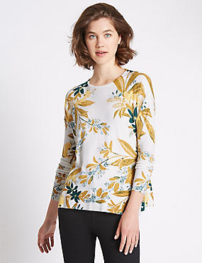 Printed Scoop Neck Jumper