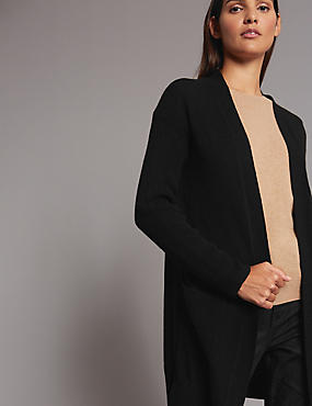 Pure Cashmere Textured Longline Cardigan, , catlanding