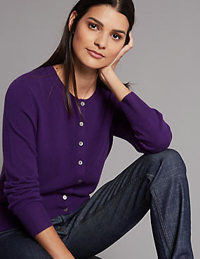 Pure Cashmere Button Through Cardigan, PURPLE, catlanding