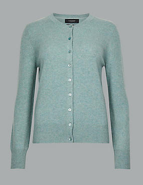 Pure Cashmere Button Through Cardigan, BLUE/GREEN, catlanding