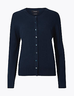 Pure Cashmere Button Through Cardigan, MEDIUM NAVY, catlanding