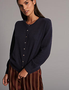 Pure Cashmere Button Through Cardigan, DARK NAVY, catlanding