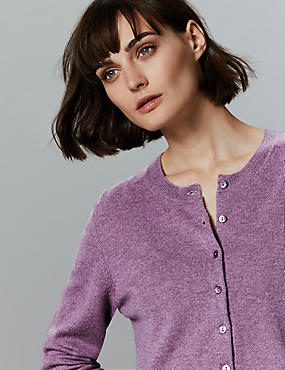 Pure Cashmere Button Through Cardigan, LILAC, catlanding