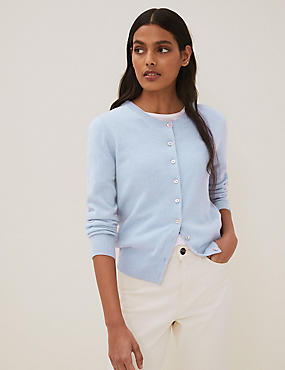 Pure Cashmere Button Through Cardigan, BLUEBELL, catlanding
