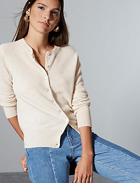 Pure Cashmere Button Through Cardigan, OATMEAL, catlanding