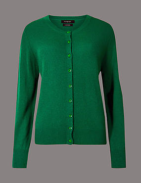 Pure Cashmere Button Through Cardigan, EMERALD, catlanding