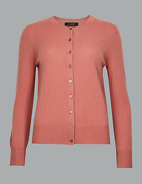 Pure Cashmere Button Through Cardigan, TERRACOTTA, catlanding
